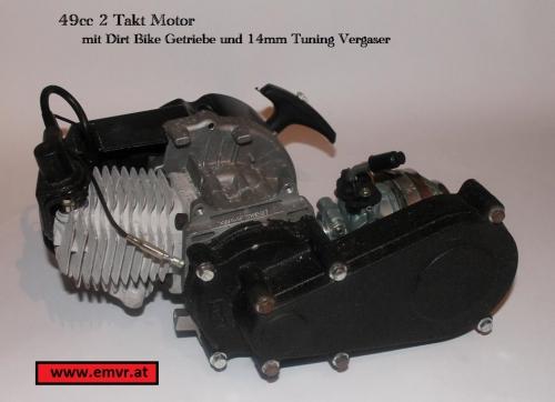 emvr roscher motor 49cc 2 takt mit dirt getriebe 14mm. Black Bedroom Furniture Sets. Home Design Ideas